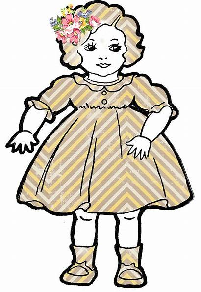 Doll Clip Clipart Dolls Rag Shabby Outline