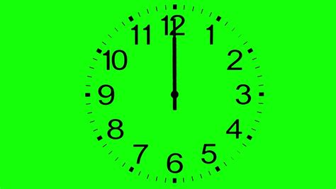 Clock Time Lapse Without Frame On Green Screen Background