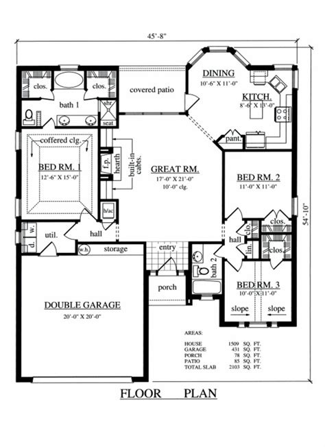Traditional Style House Plan 3 Beds 2 Baths 1509 Sq/Ft