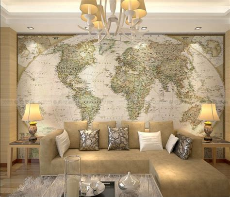 livingroom world large world map wallpaper mural living room interior decorating ideas with beige sofa and twin