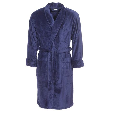 robe de chambre en polaire robe de chambre col châle mariner en polaire bleu marine