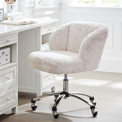 girls white desk chair polar bear faux fur wingback chair pbteen