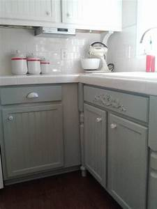 Remodelaholic painting oak cabinets white and gray for Kitchen colors with white cabinets with silver fern wall art
