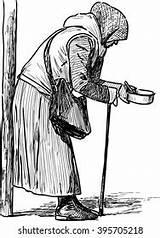 Poverty Drawing Beggar Woman Shutterstock Vector sketch template