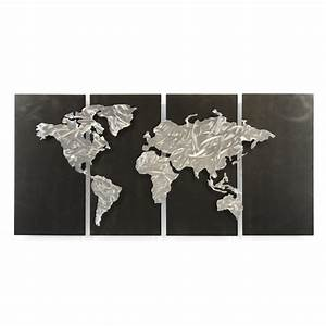 shop all my walls 48 in w x 235 in h frameless silver With kitchen cabinets lowes with map of the world wall art