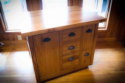 hand crafted mobile bur oak kitchen island  wood shed