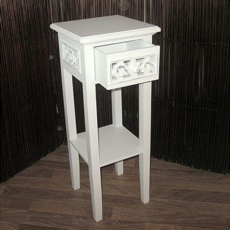 shabby chic phone table cottage house style telephone table white 25 5x10x10 quot wood drawer carved ebay