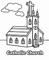 Church Catholic Coloring Drawing Christian Getdrawings sketch template