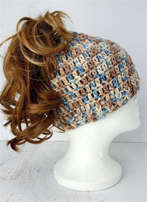 easy  crochet messy bun hat allfreecrochetcom