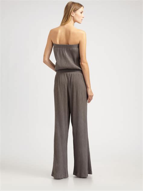 joie jumpsuit joie strapless gauze jumpsuit in gray lyst