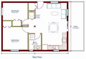 Log cottage floor plan 24'x32', 768 square feet