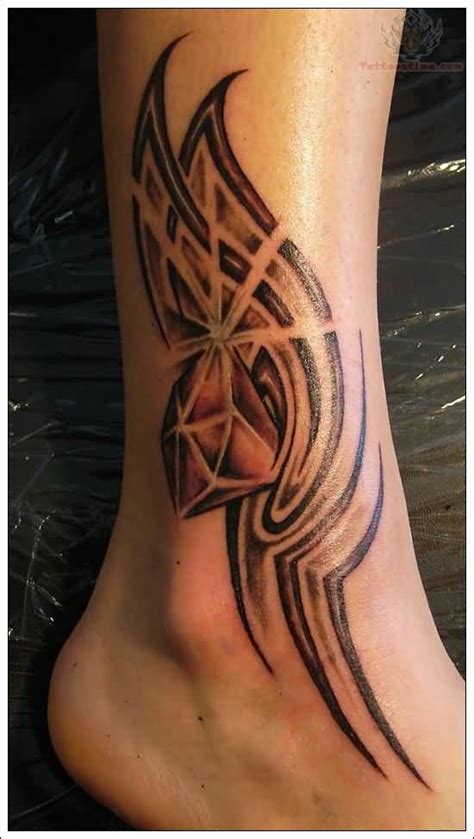 awesome tribal design  diamond tattoo  ankle