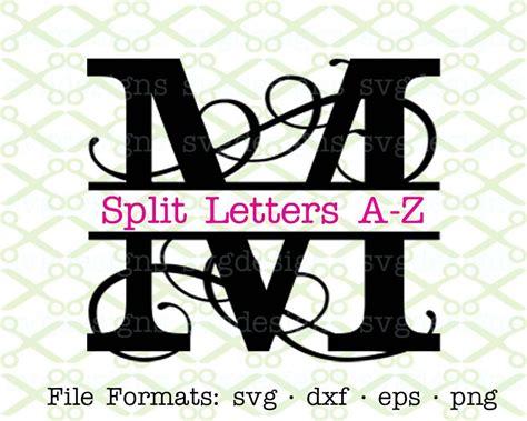 flourish split letter monogram svg dxf eps png split