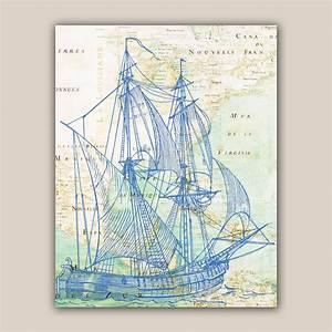 Blue bilander sailboat Print 11X14 print old map Mexico by ...