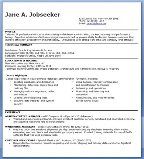 database administrator resume entry level creative