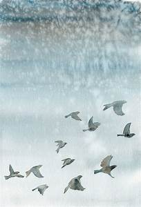 Watercolor bird painting giclee print Birds flying in a
