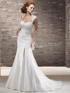 lace mermaid wedding dress with cap sleeves sang maestro With lace wedding dress with cap sleeves