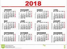 Calendário Da Grade Para 2018 Ilustração do Vetor