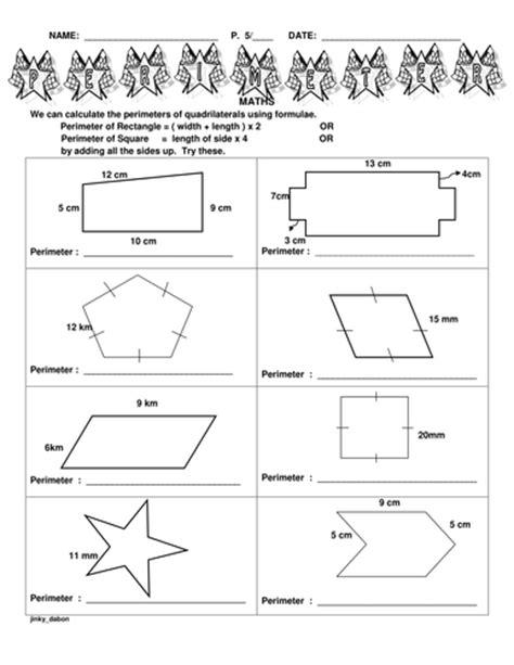 ks perimeter   shapes  jinkydabon teaching
