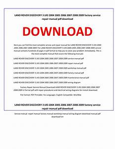 Land Rover Discovery 3 Lr3 2004 2005 2006 2007 2008 2009 Factory Repair Service Manual Download