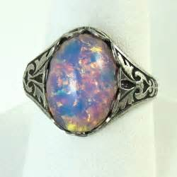 domed ring pink opal ring adjustable glass and antique silver