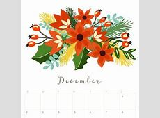 Printable December 2018 Calendar Monthly Planner Floral