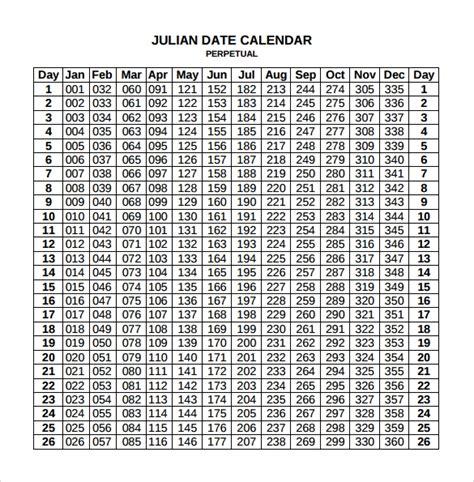 sample julian calendar documents