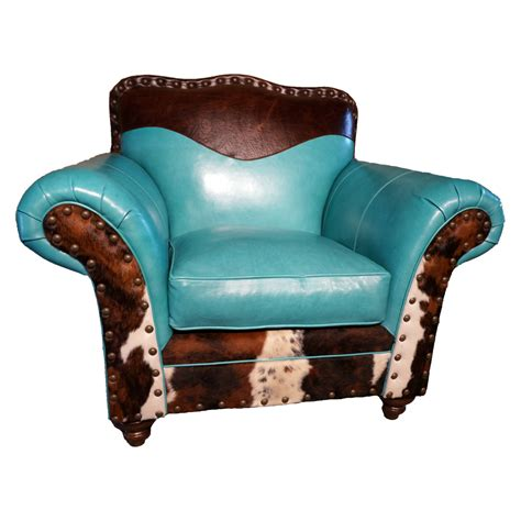 turquoise leather cowhide club chair