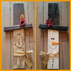 Reversible salvaged wood scarecrow/snowman holiday decor