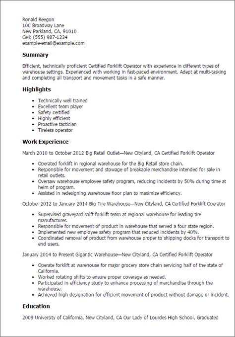 Forklift Driver Resume Template by Professional Certified Forklift Operator Templates To