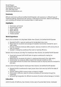 professional certified forklift operator templates to With forklift resume sample