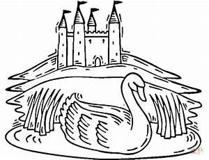 Swan Lake Near Castle Coloring Online | Super Coloring