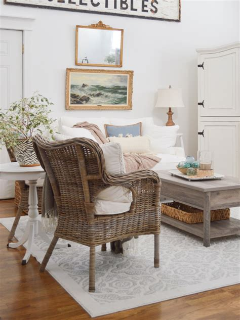 indoor rattan chairs  coastal beach style living