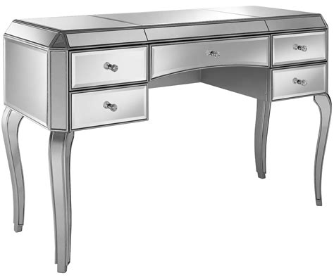 silver desk with drawers metallic silver 5 drawer mirrored desk from pulaski