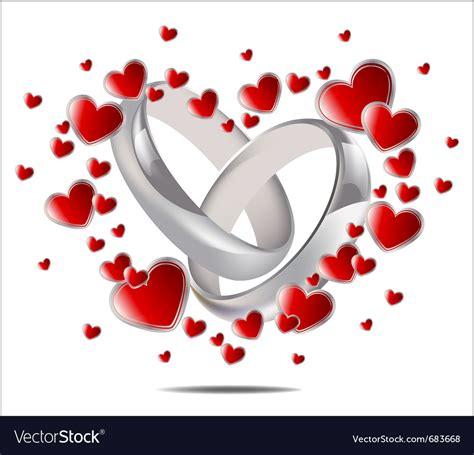 wedding rings and hearts royalty free vector image