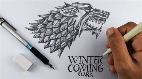 How To Draw Sigil/dragon Of House Stark From Game Of