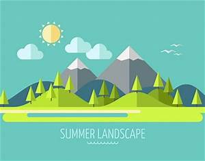 Flat Design Nature Landscape On Behance