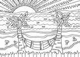 Coloring Tropical Scenes sketch template