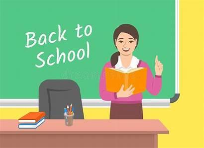 Lehrer Nahe Tafel Liest Klassenzimmer Buch Blackboard
