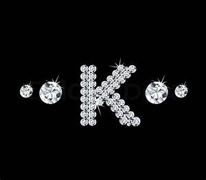 Diamond vector alphabetic letter 'K' with bright stars and ...