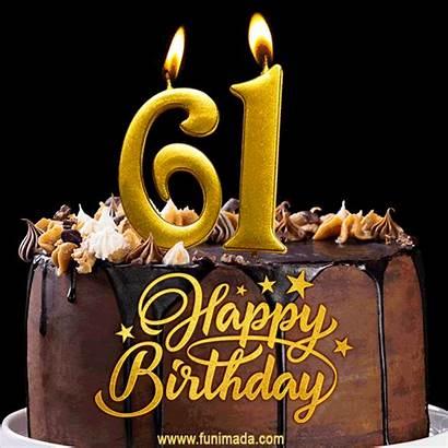 Birthday Cake 71st 61 Happy Candles 61st