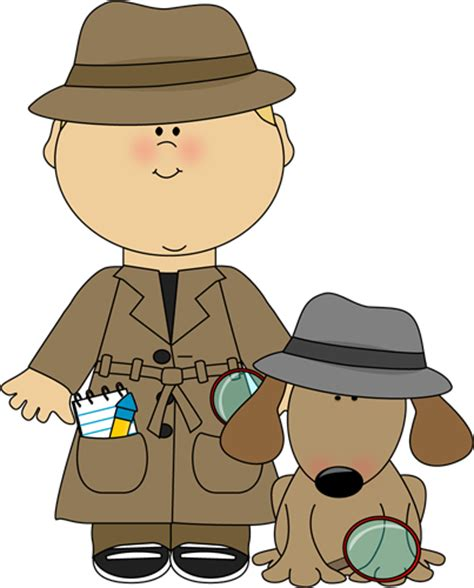 Boy Detective And Dog Clip Art