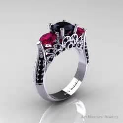 black and green engagement ring classic 14k white gold three black raspberry garnet solitaire ring r200 14kwrrgbd