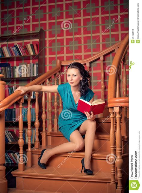 beautiful brunette woman   library  style photo
