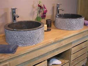 Meuble Salle De Bain Bois Double Vasque : salle de bain originale et pas chre excellent meuble vasque plan colonne salle de bain high ~ Melissatoandfro.com Idées de Décoration