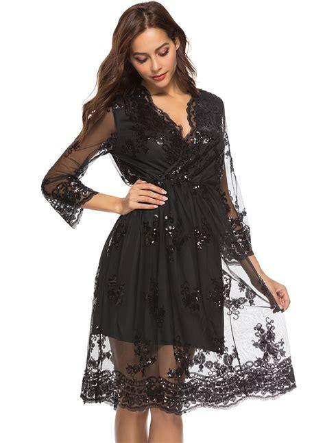Fashion Silket V Neck fashion lace mesh spicing sleeve v neck dress with
