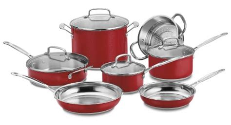 cuisinart cs dmr chefs classic stainless   everyday pan  cover metallic red