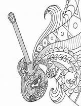 Coloring Guitar Zentangle Journal Doodle Grid Dot Notebook Diary Blank Line Coloriage Books Piano Musique Mandala Designs Printable Nisi Ro sketch template