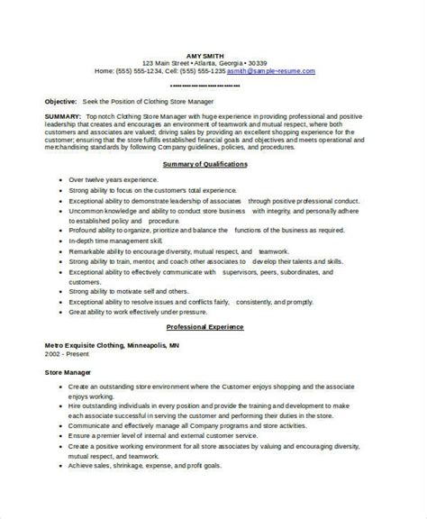Clothing Retail Resume by Store Manager Resume 9 Free Pdf Word Documents