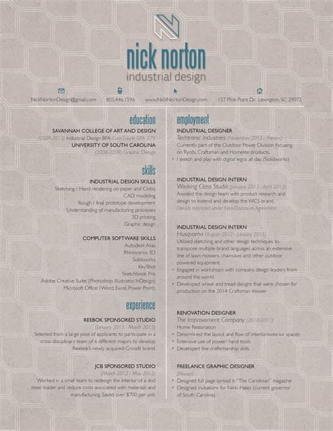 Industrial Design Resume by Industrial Design Resume Amitdhull Co
